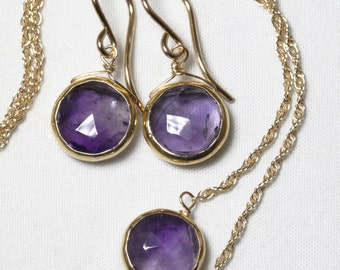 Genuine Amethyst 2-piece SET Real Amethyst Necklace Amethyst Earrings Amethyst Jewelry February Birthstone BZ-SET-105-Am/g