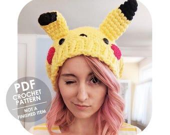 crochet pattern - pikachu hat - slouchy hat - pokemon - anime - winter hat - slouchy beanie - slouchy hat crochet pattern - pokemon hat