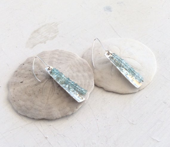 Hammered Sterling Silver Earrings with Light Blue Apatite Beads