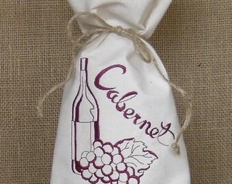 Embroidered Wine Bag, Wine Bag, Cabernet  Wine Bag, Embroidered Champagne Bag