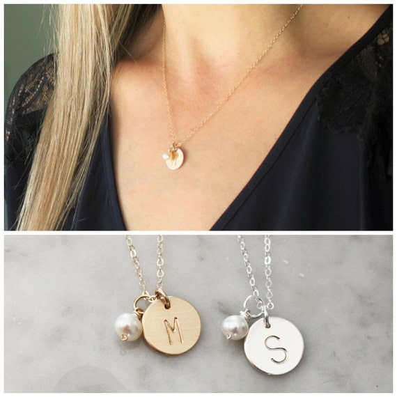Initial Charm Necklace w/ Pearl, Personalized Necklace, Bridesmaid Gift, Initial Necklace, Mother's Necklace, Hand Stamped Jewelry