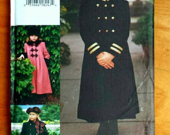 Little Vogue Pattern 8864 Girls Military Style Coat Pattern Uncut Size 4 5 6