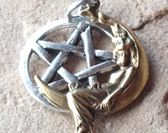 Lady on the Moon Pentagram Pendant, Antique Brass and Sterling Silver Ear Wires Beautiful Ritual Wear for Witches and Priestesses