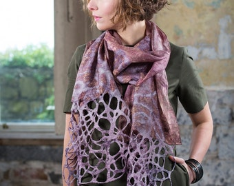 Scarf | Silk Scarf| Wool Scarf| Hand Dyed| Kate Ramsey |Accessories| |Lace | Camel