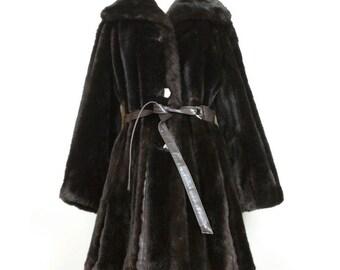 Vintage Coat Dark Brown Faux Fur Spy Trench Misses S Tissavel 70s