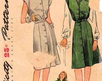 1940s Simplicity 1238 Vintage Sewing Pattern Misses Dress, Jumper, Blouse Size 18 Bust 36
