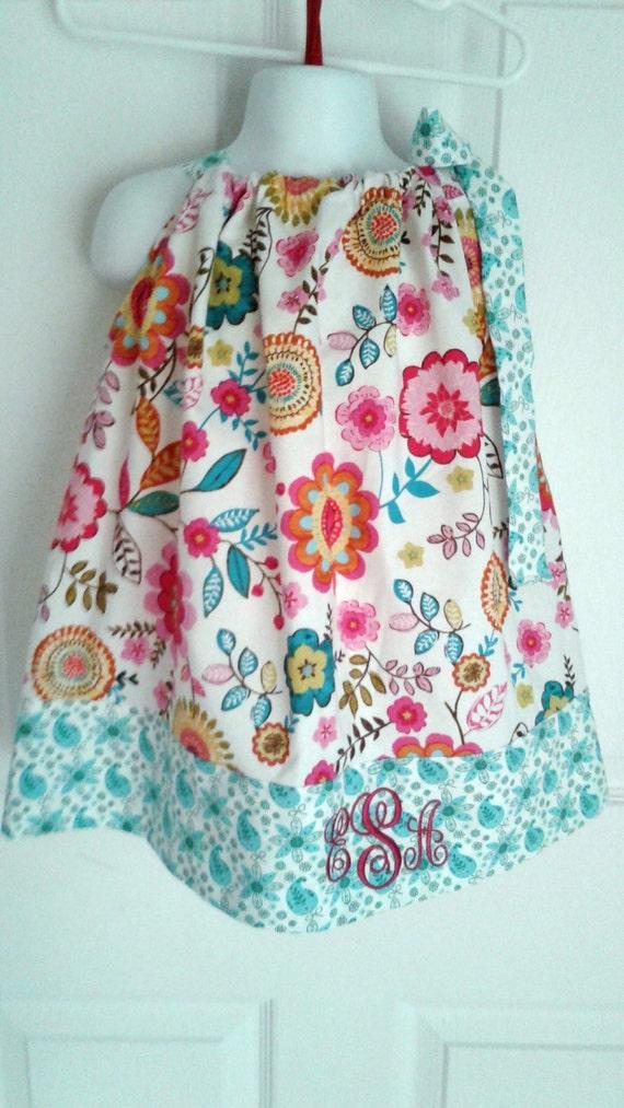 Girls Floral Dress, Handcrafted,Pillowcase Dress, Summer dress, Blue Print dress, Cotton dress,Newborn dress, Toddle dress, Preteen dress