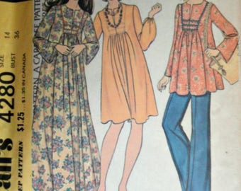Vintage 70's 4280 Sewing Pattern, Maternity Dress Or Maxi Dress, Top And Pants, Size 14, 36 Bust, Retro Boho 1970's Maternity Fashion