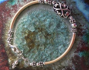 Sterling Filigree Oval Focal Bead Bracelet with 14K Gold Filled Tubes