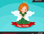 Christmas Angel Clipart 2. Red Brunette, holiday, ornaments, illustration, graphic, cute, character, religious