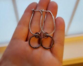 Sterling Silver Hoops, Rustic Copper Hoops, Women's Earrings, Artisan Metalwork, Hoop Earrings, Rustic Bohemian, Boho Chic, Mixed Metal
