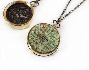 Compass Necklace, London Map, Large Compass, Brass, Working Compass, Antiqued Brass Chain, Vintage Map, England, Europe, Travel, Wander