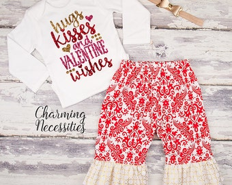 Baby Girl Valentines Day Outfit, Toddler Girl Clothes, Top and Ruffle Pants Set, Hugs Kisses Wishes red gold sparkle by Charming Necessities