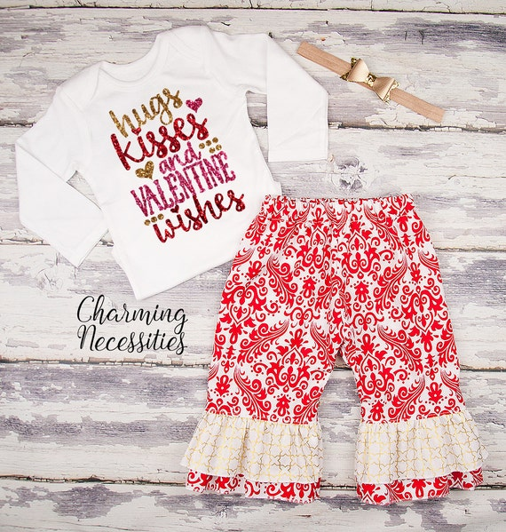 Baby Girl Valentines Day Outfit, Toddler Girl Clothes, Top and Ruffle Pants Set