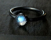 Moonstone and sterling ring / rainbow moonstone / blue sheen moonstone / June birthstone / rose cut moonstone / ready to ship