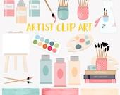 Artist clip art set, art and crafts paints, watercolor art clipart (LC08)