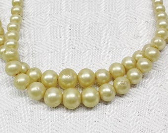 1930s Vintage Faux Pearl Double Strand Necklace with Rhinestone Clasp Japan