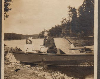 Original Vintage Mounted Photograph Man & Girl in Row Boat 1900s-10s