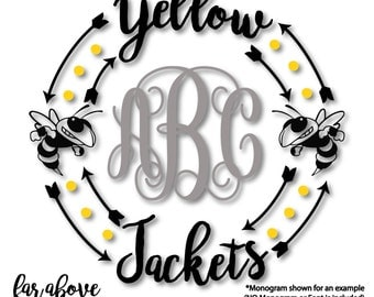Yellow Jackets Team Monogram Wreath Frame (monogram NOT included) SVG, DXF, eps, png, jpg digital cut file for Silhouette or Cricut