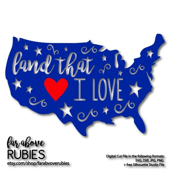 Land that i love america with heart stars svg eps dxf for How to get free land in usa