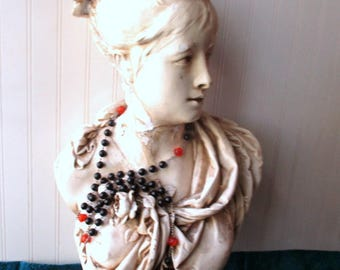 Large vintage rosary statue rosary decor rosary black and orange prayer beads 29 inches Catholic Religious Spiritual Divine decor