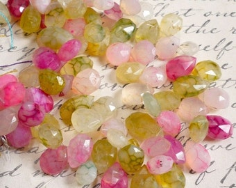 Chalcedony Briolette Beads, Pink Cream Gold Chalcedony, Faceted Briolette Beads 8 Inches