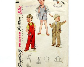 Childs Overalls with Rocking Horse Appliqué / Vintage Sewing Pattern / Suspender Pants or Shorts /  Simplicity 3566 / Size 3