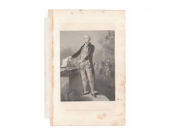 "Antique engraving, ""Washington Resigns His Commission,"" from 1876 American history book - Free US Shipping"
