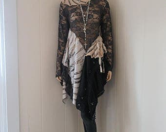 Boho Gypsy Tunic Dress Lace Floral with Vintage Lace and Tattered Silk Gray and Ivory One Size to XL