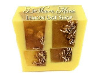 SALE SOAP  - Lemon Soap - Lemon Oat Scrub Soap - Oatmeal Soap - Vegan Soap - Handmade Soap- Soap Gift - Favors