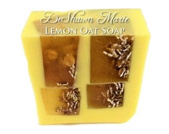SOAP  - Lemon Soap - Lemon Oat Scrub Soap - Oatmeal Soap - Vegan Soap - Handmade Soap- Soap Gift - Favors
