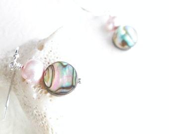 Pink Abalone Shell Earrings, Beachy Jewelry, Freshwater Pearl Drop Earrings