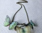Butterfly Tree - Handmade Teal Aqua Seafoam Silk Organza Butterflies Necklace - One of a Kind