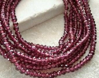 Rhodolite Garnet Gemstone Faceted Rondelle Beads 3mm - Half Strand 6 3/4 inches