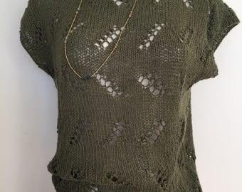 70s Hippie Nubby Knit Crochet Sweater Top   1970s Handknit Summer Top