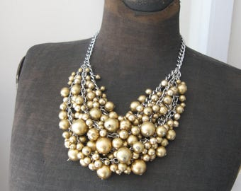 My Heavens - Upcycled Vintage Bead Necklace- Matte Gold and Silver Tones