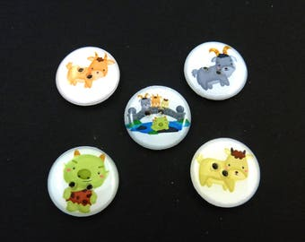 "5 Three Billy Goats Gruff Buttons.  Goats, Troll, and Bridge Buttons.  3/4"" or 20 mm. Washer and Dryer Safe."