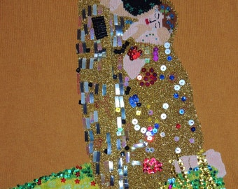 "Storybook Knit ""The Kiss"" Artist Inspired Series Gustav Klimt Size L"