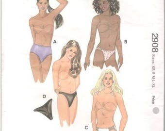Kwik Sew 2908 Misses Lingerie Briefs Bikini THONGs Panties Pattern Womens  Sewing Pattern Size XS  S M L  XL UNCuT