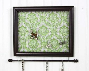 Jewelry Holder- Brown Frame- Green Damask