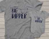 Big dipper lil dipper matching dad and kiddo t-shirt or bodysuit gift set - great gift for Father's Day or birthday  MDF1-099