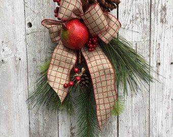 Christmas Swag, Plaid Christmas Pine Teardrop, Williamsburg Christmas Wreath, Wreath Alternative