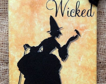 Fabulously Wicked Witch Silhouette Halloween Gift or Scrapbook Tags or Magnet #471
