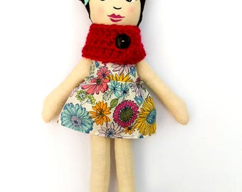 "Asian Cloth Heirloom Doll, 18"" Black Hair Doll, Rag Doll READY to SHIP Asian Doll Soft Doll fabric doll christmas doll gifts under 60"
