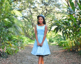 Cinderella, baby blue velvet dress, square vintage neckline, bow, fit and flare style