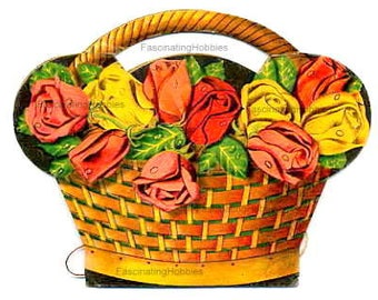 Vintage SEWING NEEDLES paper Book HOLDER - Roses in Basket- Art Deco - printed fresh colorful flowers - good condition- years 1920- Foreign