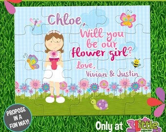 "Be My Flower Girl Puzzle - Personalized Flower Girl Announcement Puzzle - Personalized 8"" x 10"" Puzzle - Custom Flower Girl Proposal Puzzle"