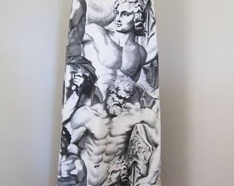 1960s Custom Mod Neoclassical Black/White Stippled Roman Warrior Print Cotton Full Length Maxi Skirt FABULOUS Large