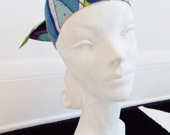 Mod 1960s abstract head scarf/ 60s multi color hair band/ go go girl