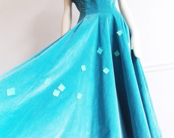 1950s new look turquoise velvet dress/ rockabilly dress/ 50s evening dress/ 50s party full skirt dress